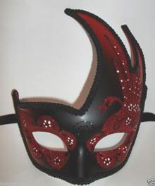 Black Red Masquerade Swan Flame Mask Mardi Gras Ball Dance Prom
