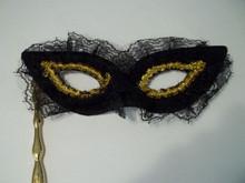 Black Lace Stick Opera Mardi Gras Masquerade Costume Halloween Mask