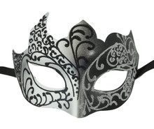 Black Gray Silver Venetian Mask Masquerade Mardi Gras