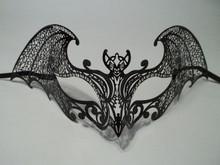 Black Gothic Bat Laser Cut Venetian Mask Masquerade Metal Filigree Halloween