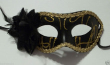 Black Gold Rose Flower Mardi Gras Masquerade Party Value Mask