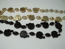 Black Gold football Helmet Mardi Gras Beads Saints