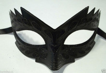 Black Glitter Mardi Gras Masquerade Child Small Dark Angel Venetian Prom Mask