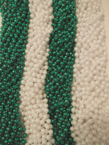 6 Dozen Mardi Gras Beads 72 Green, Pearl White St Patricks Day Parade Necklaces