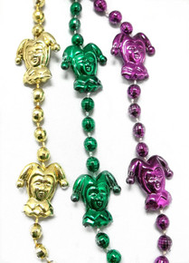 "3 Jester Mardi Gras Beads 48"" Purple Green Gold"