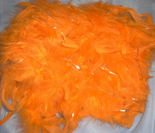 Orange w Silver Lurex Feather Boa 60 gm 6 ft Masquerade Costume Dress Up Chandelle