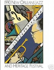 1990 New Orleans Jazz Festival Poster Post Card Postcard Sheik