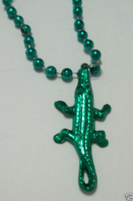 12 Green Alligator Gator Pendant Mardi Gras Beads Necklaces Party Favors