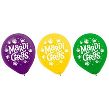 "Mardi Gras Helium Quality Latex Balloons 12"" Assorted Colors 15 Ct"