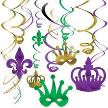 Mardi Gras Foil Swirl 12 pc Value Pack Hanging Decorations