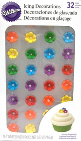 Wilton Pre-made Mini Daisy Royal Icing Decorations 32 ct Rainbow Daisies