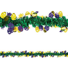 Mardi Gras Comedy Tragedy Masks Tinsel Garland 15' Ft