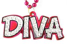 Diva Pendant Mardi Gras Necklace Beads Bead Pink Silver