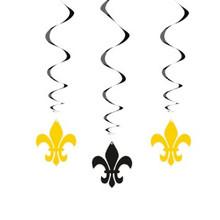 Fleur De Lis 3 Hanging Swirl Decorations Black and Gold