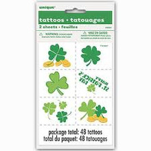 Happy St Patrick's Day 12 Temporary Tattoos Clover Shamrock Gold