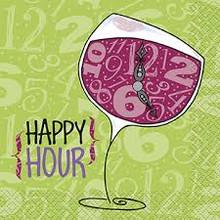Happy Hour Wine Glass Beverage Napkins 24 ct 2 ply Primer Stylz