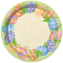 """Spring Easter Egg  9"""" Dinner Paper Plates, 8 ct"""