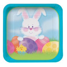 Easter Bunny's Gift Dessert Plates Square Deep Dish 8 ct Spring Party
