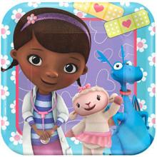"Doc McStuffins Lambie Stuffy Birthday Party Supplies 8 Square Dessert 7"" Plates blue"
