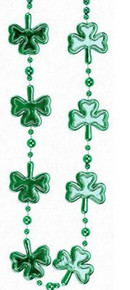 Shamrock Clover Green Mardi Gras Bead Necklace St Patrick's Day