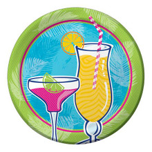 "Summer Drinks Fancy Cocktail Glasses 8 9"" Dinner Plates"