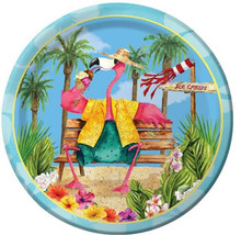 "Flamingo Fun Beach Luau Pool Party 7"" Premium Dessert Plates"