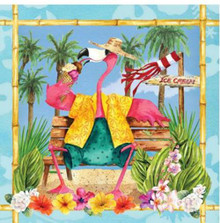 Flamingo Fun Beach Luau Pool Party Theme Beverage Cocktail Napkins 18 ct