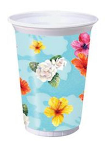 Flamingo Fun Hibiscus Beach Luau Pool Party Supplies 16 oz Large Plastic Cups 8 ct