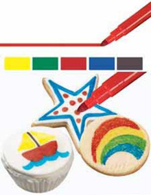 Fine Tip Primary Colors Edible Food Writers Pens Markers 5 pk Wilton