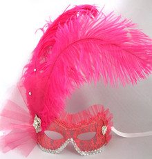 Fiona Hot Pink Silver Italian Venetian Masquerade Mask Feather Lace