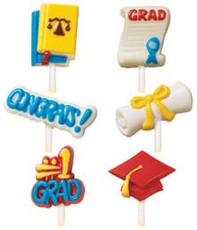 Wilton Candy Lollipop Mold Graduation 6 designs 8 Cavity Diploma, Cap, #1