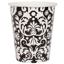 Black Damask 9 oz Hot Cold Paper Cups 8 ct Wedding Shower Anniversary