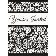 Black Damask Invitations 8 ct Wedding Bridal Shower Anniversary Party