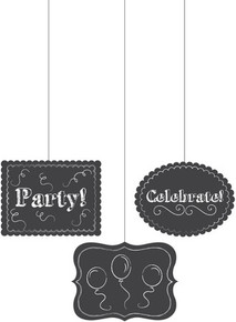 "Chalkboard Hanging Cutouts ""party"" ""Celebrate"" Balloons Any Birthday Graduation Bachelorette Shower"