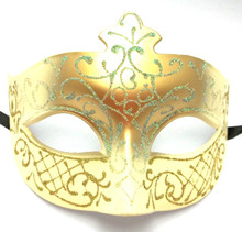 Cream Gold Fancy Scroll Venetian Prom Mardi Gras Masquerade Mask