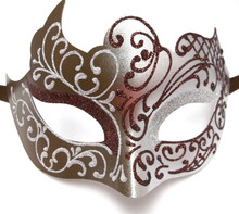 Brown Silver Venetian Mask Masquerade Mardi Gras Unique Style Men Adult Unisex