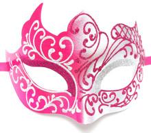 Hot Pink Silver Unique Venetian Masquerade Mardi Gras Halloween Prom Mask
