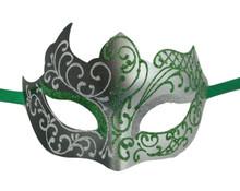 Green Silver Unique Mardi Gras Masquerade Prom Mask