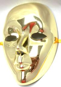 Gold Metallic Drama Full Face Mardi Gras Masquerade Costume Mask