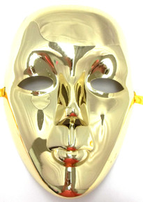 Gold Metallic Drama Full Face Mardi Gras Masquerade Costume Mask