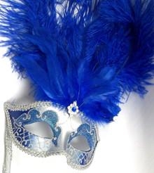 Royal Blue Silver Stick Venetian Masquerade Mardi Gras Feather Mask