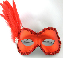 Belle Red Flower Crystal Feather Masquerade Mardi Gras Mask