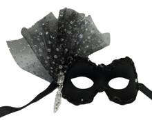 Noelle Black Mesh Glitter Flower Crystal Masquerade Prom Ball Mask