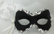 """""""Mindy"""" Black Silver Crystal and Ribbon Masquerade Mardi Gras Prom Ball Mask"""