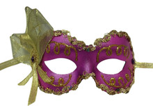 """Angelina"" Purple Gold Lame Ribbon Crystal Masquerade Prom Ball Mask"