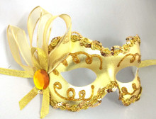 """Angelina II"" Gold Lame Ribbon Crystal Masquerade Prom Ball Mask"