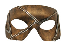 """Rafe""  Brown Bronze Metal Stud Steampunk Masquerade Prom Mask"