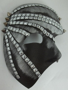 """Elgar"" Gray Silver Lame, Black, Pewter Spike Metal Stud look Steampunk Masquerade Prom Mask"