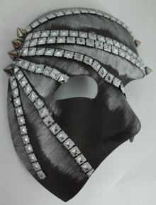 """Elgar"" Gray Silver Lame, Black, Pewter Spike Metal Stud look Steampunk Masquerade Prom Mask"