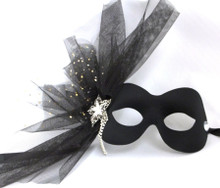 """Paulina"" Black Crystal Flower Masquerade Prom Ball Mask"